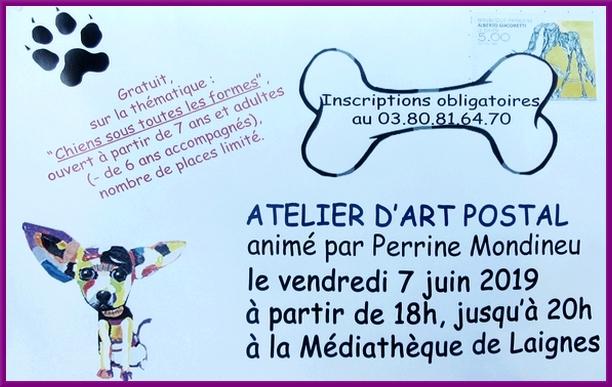 Un atelier d'Art Postal a eu lieu à la médiathèque de Laignes...