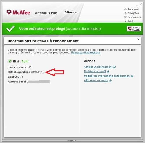 McAfee antivirus plus 2013 - Licence 180 jours gratuits