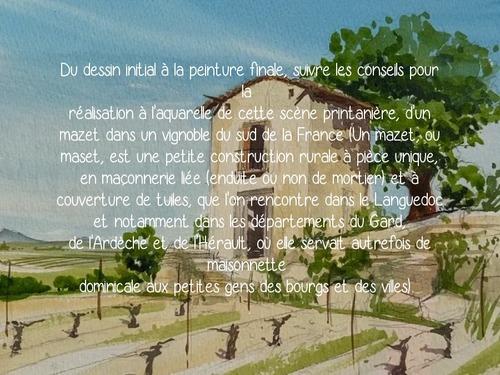 Dessin et peinture - vidéo 3533 : Comment peindre une ruine dans un vignoble français - aquarelle.