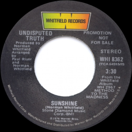 1976 : Single SP Whitfield Records WHI 8362 [ US ]
