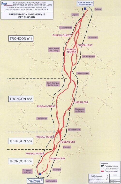 Zone d'étude du projet de ligne 225 Kv enterrée.