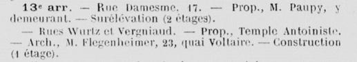 Paris - Demande en autorisation de bâtir du 15 déc 1913