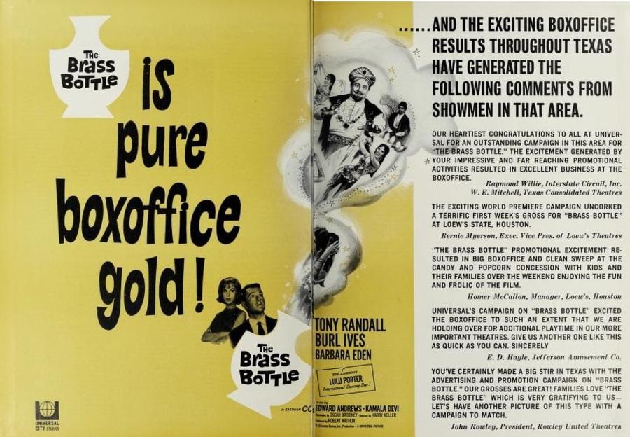 THE BRASS BOTTLE BOX OFFICE USA 1964