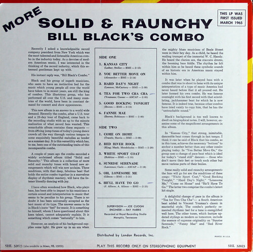 "Bill Black's Combo : Album "" More...Solid & Raunchy "" Hi Records SHL 32023 [ US ]"