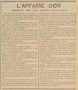 L'Affaire Dor - Arrêt de la cour d'appel (Le bruxellois, 17 mai 1917)