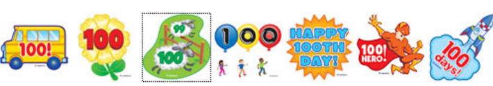 Banque  de clips couleurs, 100 jours
