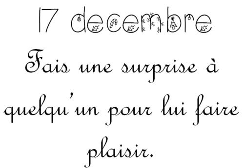 Mardi 17 décembre: Calendrier de l'Avent