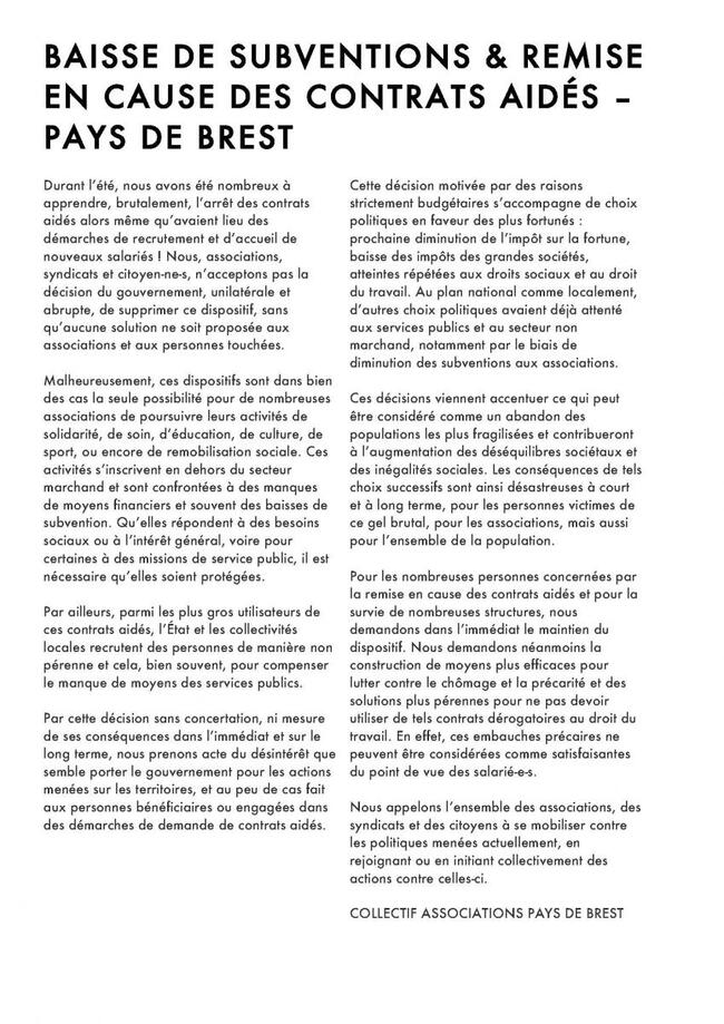 Conseil municipal du 12 octobre 2017 - Suppression des contrats aidés