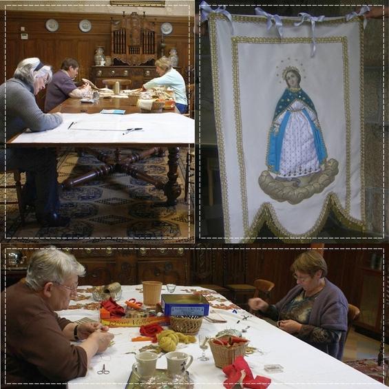 Bannière restaurée et couturières à l'atelier