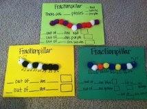 Inventer puis écrire la fraction : les chenilles