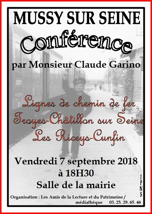 Claude Garino donnera une conférence à Mussy