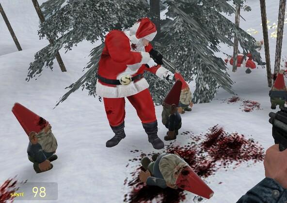 Baston entre Père Noel et ses lutins