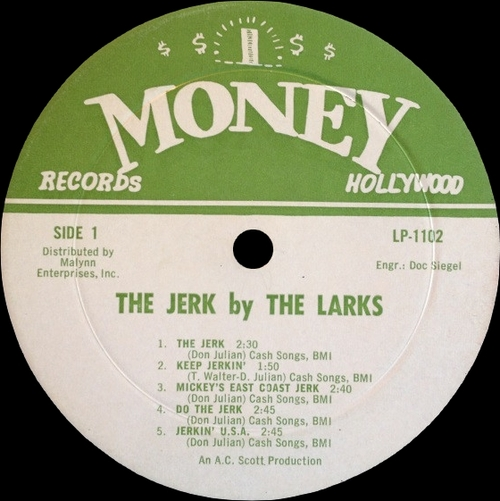 "The Larks : Album "" The Jerk "" Money Records LP 1102 [ US ]"