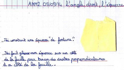 2. AMM2 L'équerre : angle droit, droites perpendiculaires