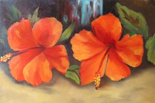 ma première peinture à l'huile : des hibiscus