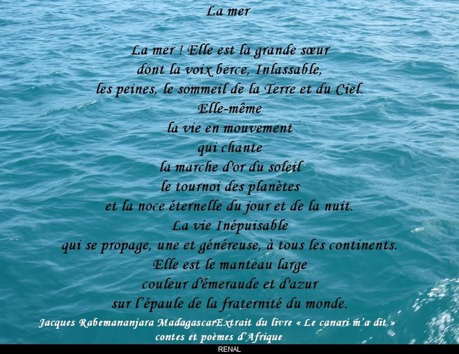 Poèmes extraits du livre « Le canari m'a dit » contes et poèmes d'Afrique (la mer)