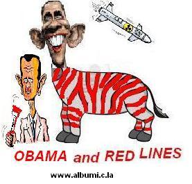 Caricature : Obama et la ligne rouge