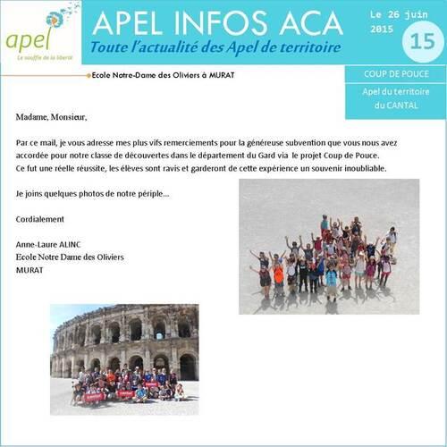 Les élèves de cycle 3 sur le site académique de l'APEL
