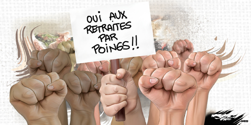 dessin de JERC et AKAKU du lundi 15 octobre 2018 caricature Réforme des retraites nous aurons l'arthrite avant la retraite www.facebook.com/jercdessin @dessingraffjerc