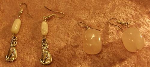 Boucles d'oreilles matous et pierres semi-précieuses