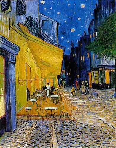 "Vincent van Gogh, Terrasse de café, Place du Forum, Arles, 1888    Elaine Weiner - Creative License  http://elaineweinerart.com  http://elaineweinerart.blogspot.com  Check out my ""Starry Night"" painting and my Blog tribute to Van Gogh.:"