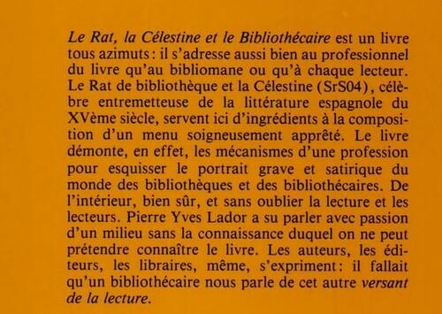 Le rat, la Célestine et le bibliothécaire