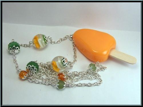 Sautoir/collier baton de glace sorbet orange en fimo