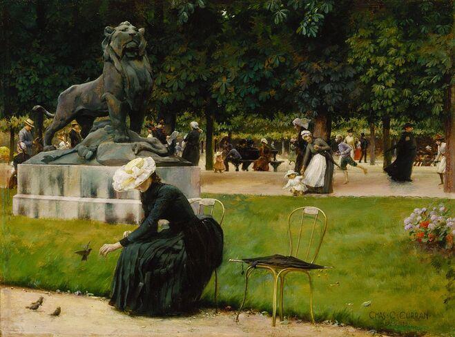 Jardin du Luxembourg : Lion de Nubie et sa proie (bronze, 1870) Auguste CAIN