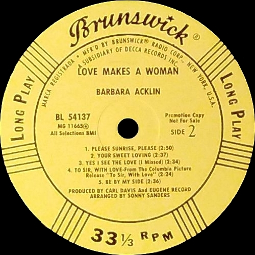 "Barbara Acklin : Album "" Love Makes A Woman "" Brunswick ‎Records BL 754137 [US]"