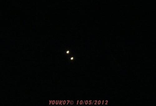 objet volant non identifié à St Sernin à 21h45 et 22h25 le 10/05/12