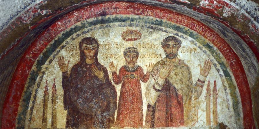 Crédit image: Catacombe Di San Gennaro (détail de la fresque de la catacombe de Saint Gennaro), lieux de sépulture et de culte paléochrétiens, Naples, Italie.