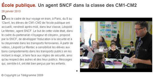 LE TÉLÉGRAMME - 28/01/2013 - Un agent SNCF dans la classe des CM1-CM2.