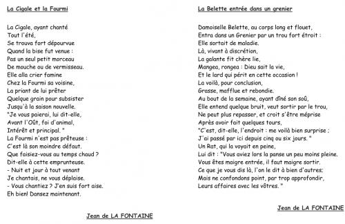 français : les fables de La Fontaine, Esope - CM