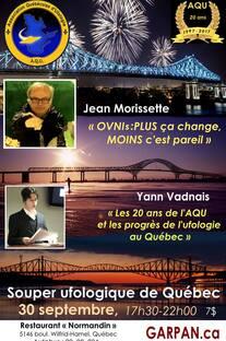 Le 30 septembre 2017, Souper ufologique de Québec