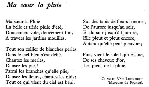 Ma soeur la pluie (Charles Van Lerberghe)