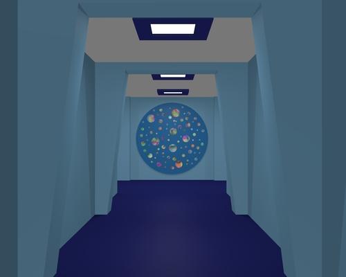 Un conrridor avec le disque du vaisseau de Dione