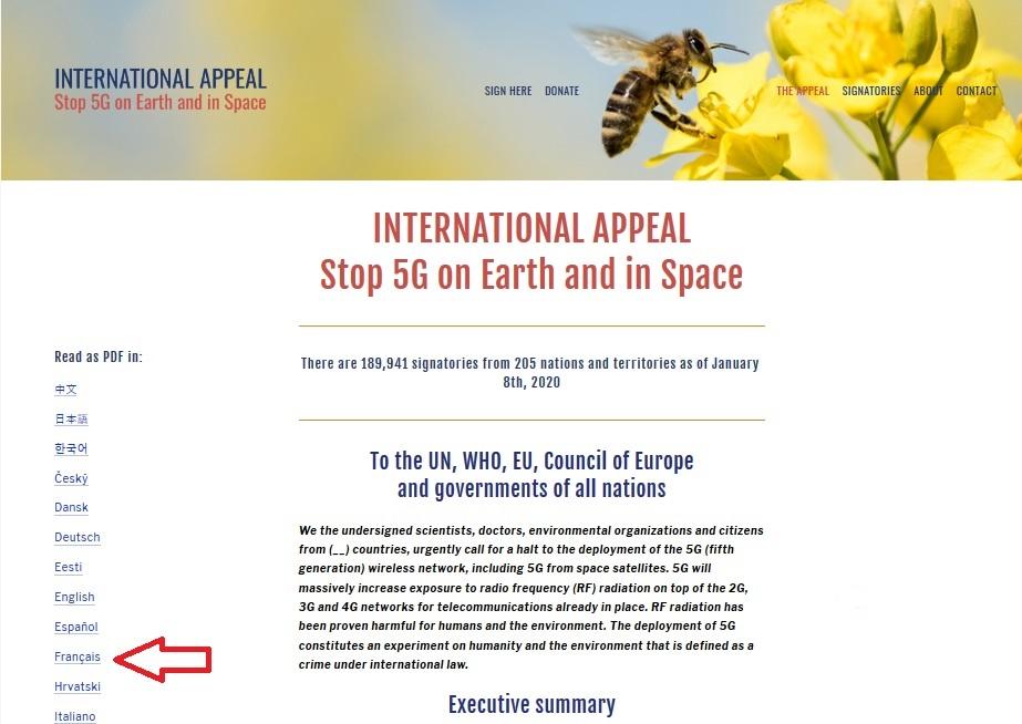 Appel International demandant l'arrêt du déploiement de la 5G sur Terre et dans l'Espace