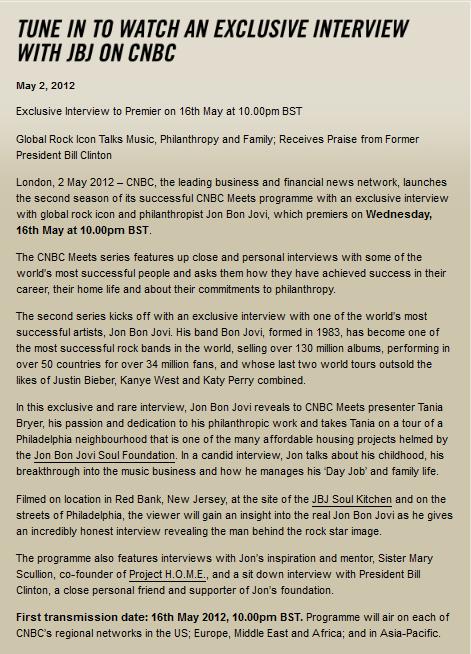 jon bon jovi le 16 Mai 2012 sur  CNBC à 23h