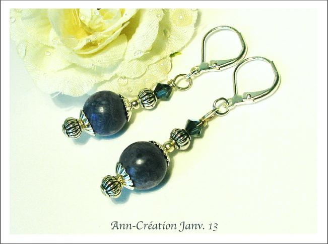 Boucles Dormeuses Corail Bleu, Cristal de Swarovski / Plaqué Argent