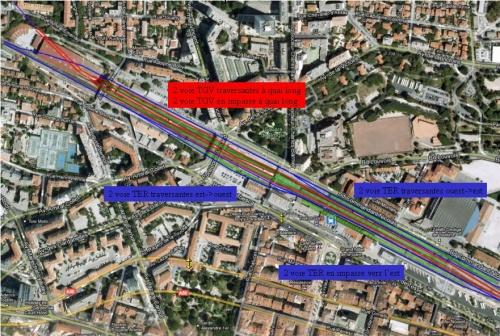 Gare de Toulon centre surface - Plan des voies dans le cadre du scénario hybride (HDS)