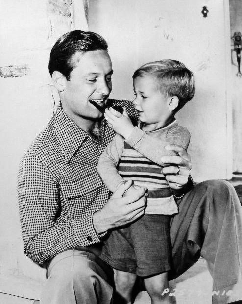 William Holden with his son Peter, 1946