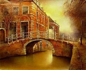 Pays-Bas+Canal+en+Delft