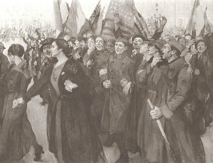 La foule en liesse dans les rues de la capitale (J. Adler. Salon de Paris)