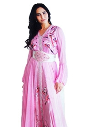 Caftan pas cher rose avec jupe en mousseline brode KAF-S813