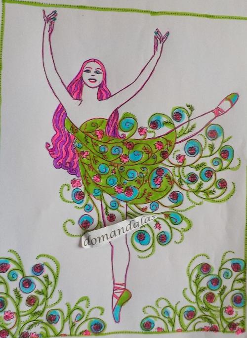 coloriage d'une danseuse aux plumes de paon