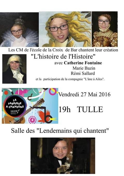 RESTITUTION en public Ecole de la Croix de Bar + concert de Catherine Fontaine et Marie à Tulle