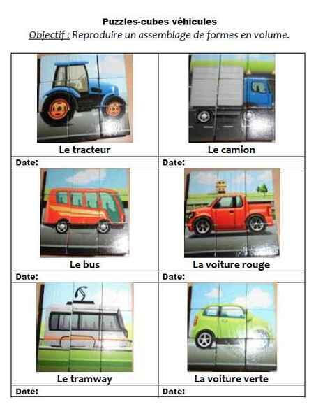 Puzzle cube : les véhicules