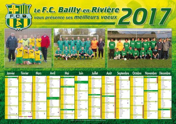Le calendrier 2017 du FC Bailly