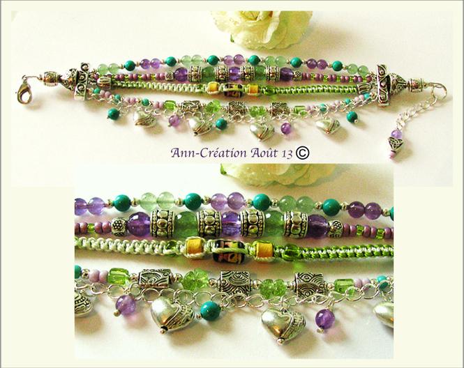 Gipsy - Bracelet Multi rangs Pierres, Améthyste, Aventurine, Turquoise... Plaqué argent