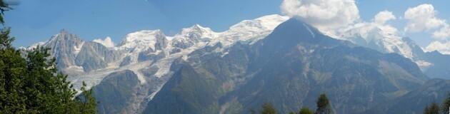 Une vue s'ensemble sur le Massif du Mont bBlanc